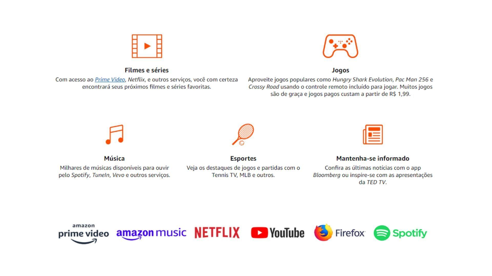 Amazon Prime Video, Netflix e YouTube estão entre os aplicativos compatíveis com o Fire TV Stick da Amazon no Brasil. (Divulgação: Amazon)