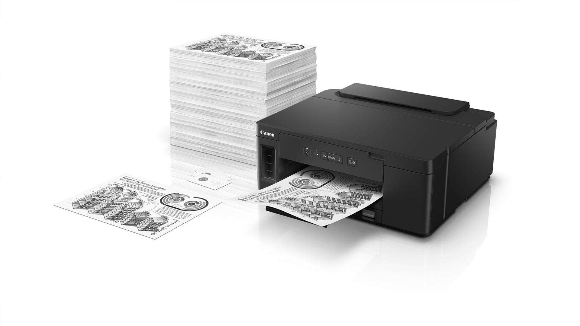 Impressora monocromática tem garrafas projetadas para impedir vazamentos (Foto: Divulgação/Canon)