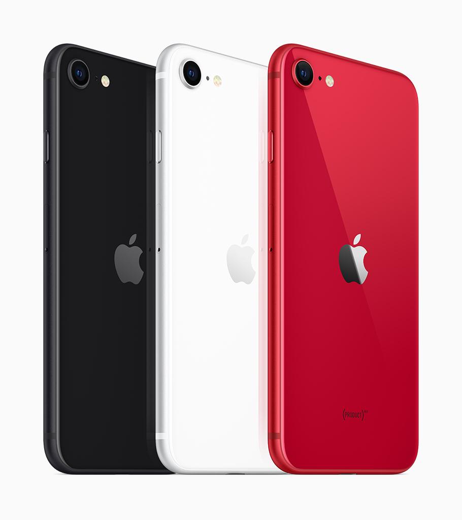 iPhone SE 2 nas cores preto, branco e vermelho. (Imagem: Divulgação/Apple)