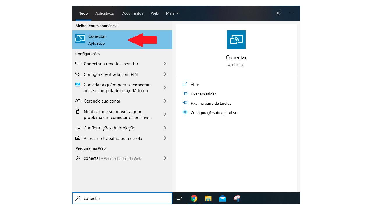 """Procure pelo programa """"Conectar"""", que já vem instalado no Windows 10. (Imagem: Reprodução/Arte Bruno Caron)"""