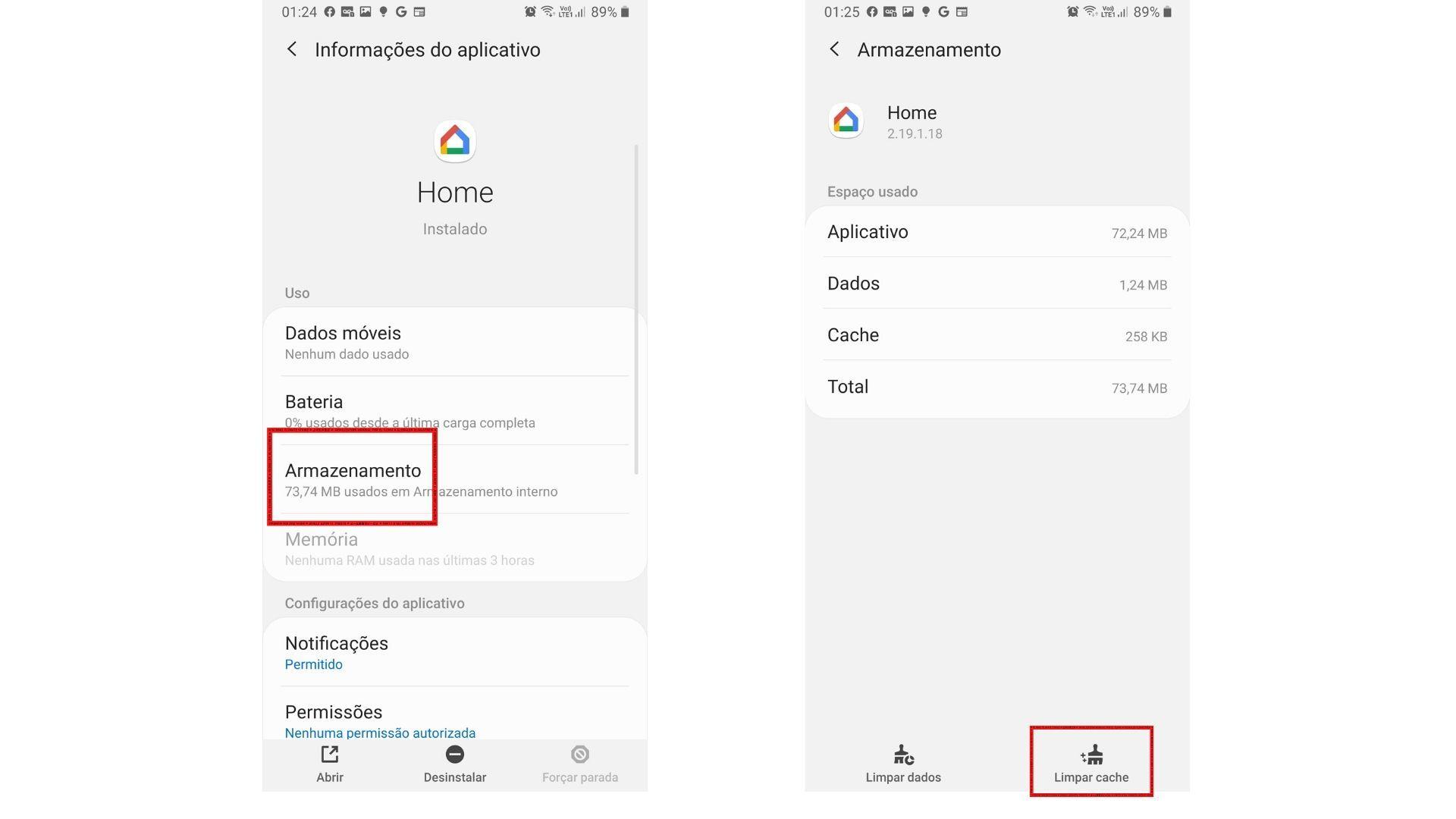 Um dos passos para fazer o chromecast conectar no wi-fi é limpar o cache do app Google Home. O processo foi feito em um Samsung Note 9. | Foto: Roberto Caligari/Zoom