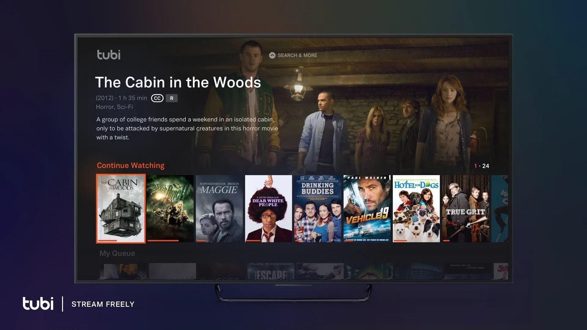 O app se destaca por ser uma alternativa à Netflix, e totalmente gratuito | Divulgação: Tubi TV)