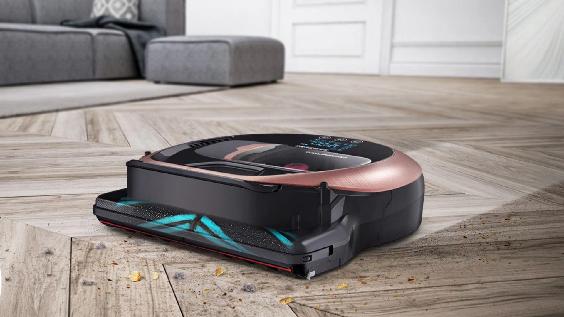Limpe a casa inteira, sem se preocupar, com o aspirador de pó robô inteligente da Samsung, o Powerbot VR7200. (Imagem: Divulgação/Samsung)