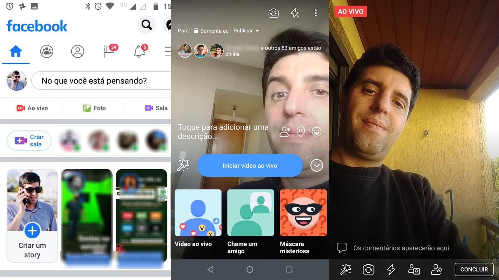 Como fazer live no Facebook via celular. (Imagem: Zoom)