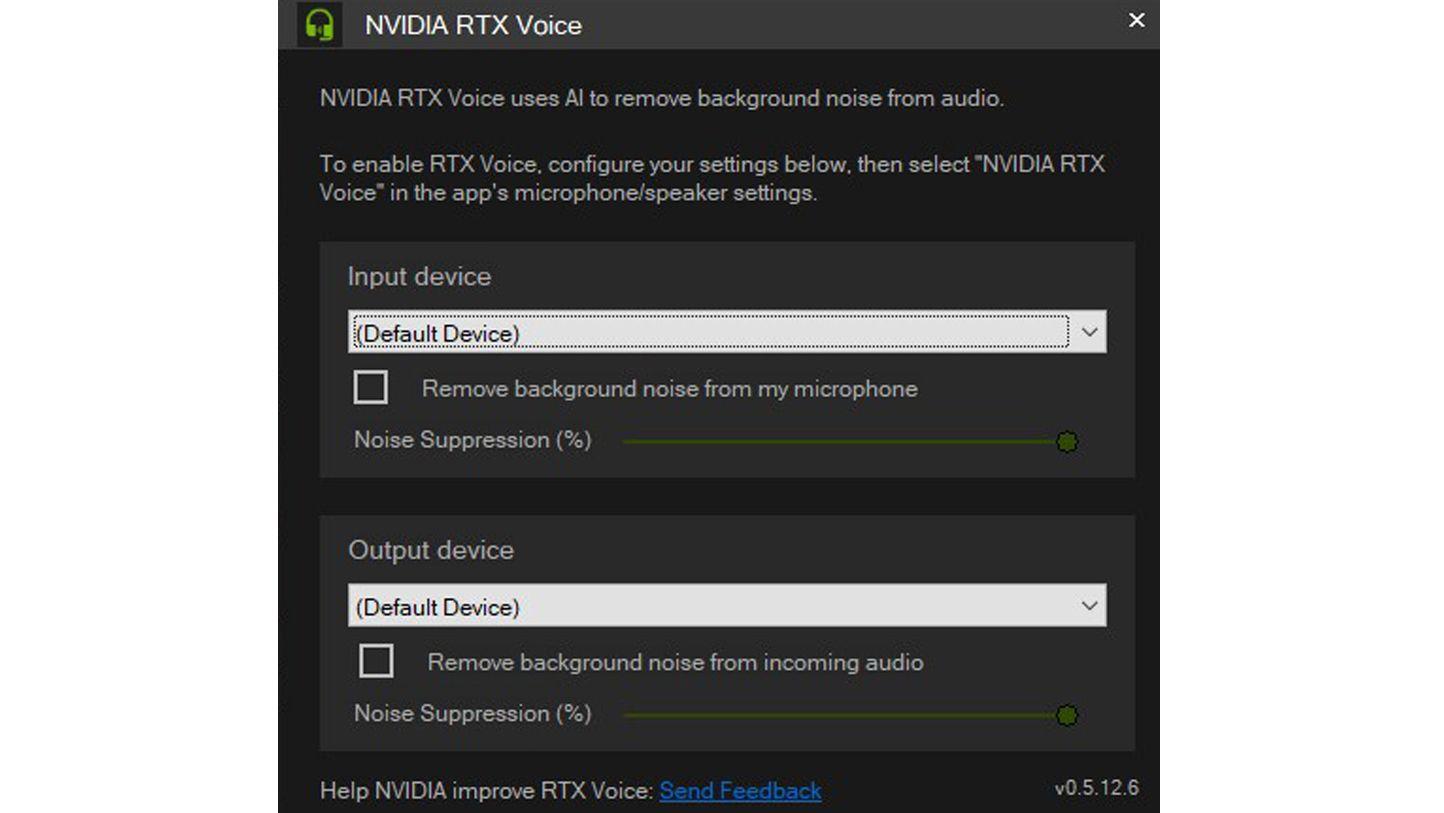 Configure o RTX Voice de acordo com os seus dispositivos de áudio. (Imagem: Reprodução/Bruno Rodrigues)