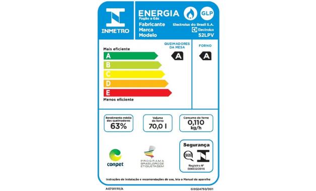 Selo Conpet A de eficiência energética do fogão Electrolux 52LPV. (Imagem: Divulgação/Electrolux)
