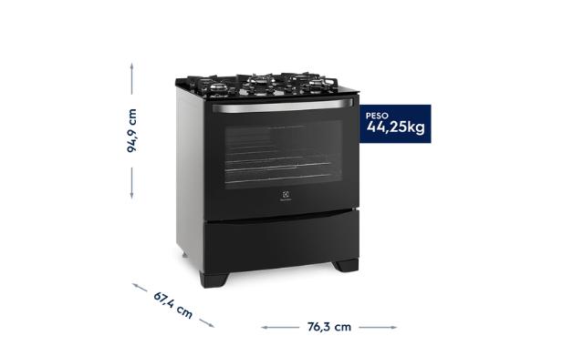 Dimensões do fogão Electrolux 76GS 5 Bocas. (Imagem: Divulgação/Electrolux)