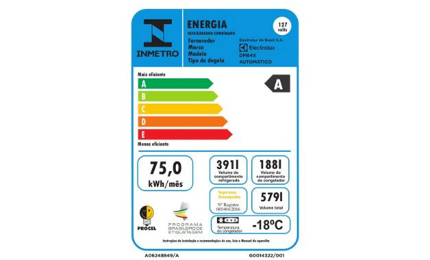 Selo Procel A de eficiência energética da geladeira Electrolux DM84X. (Imagem: Divulgação/Electrolux)