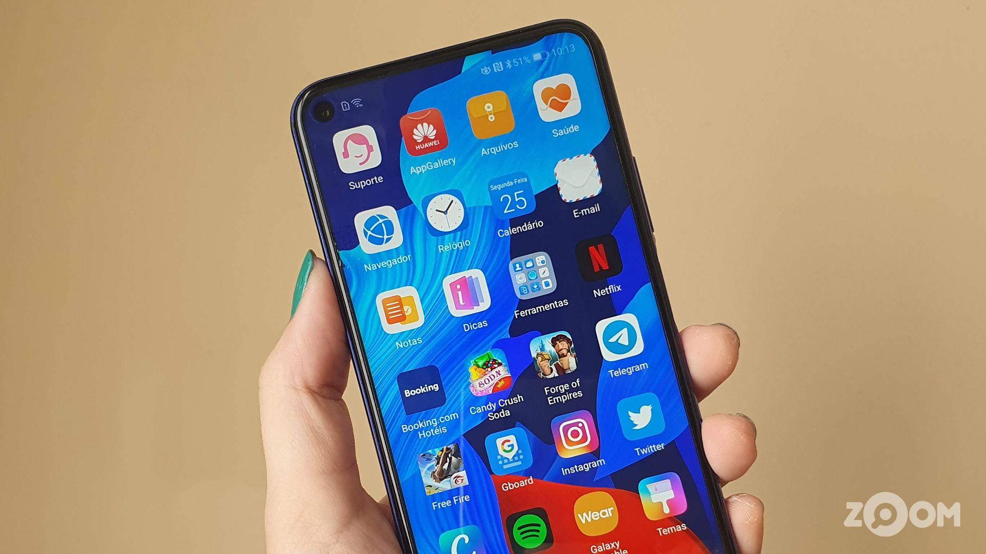 Apps no Huawei nova 5T. (Imagem: Ana Marques/Zoom)