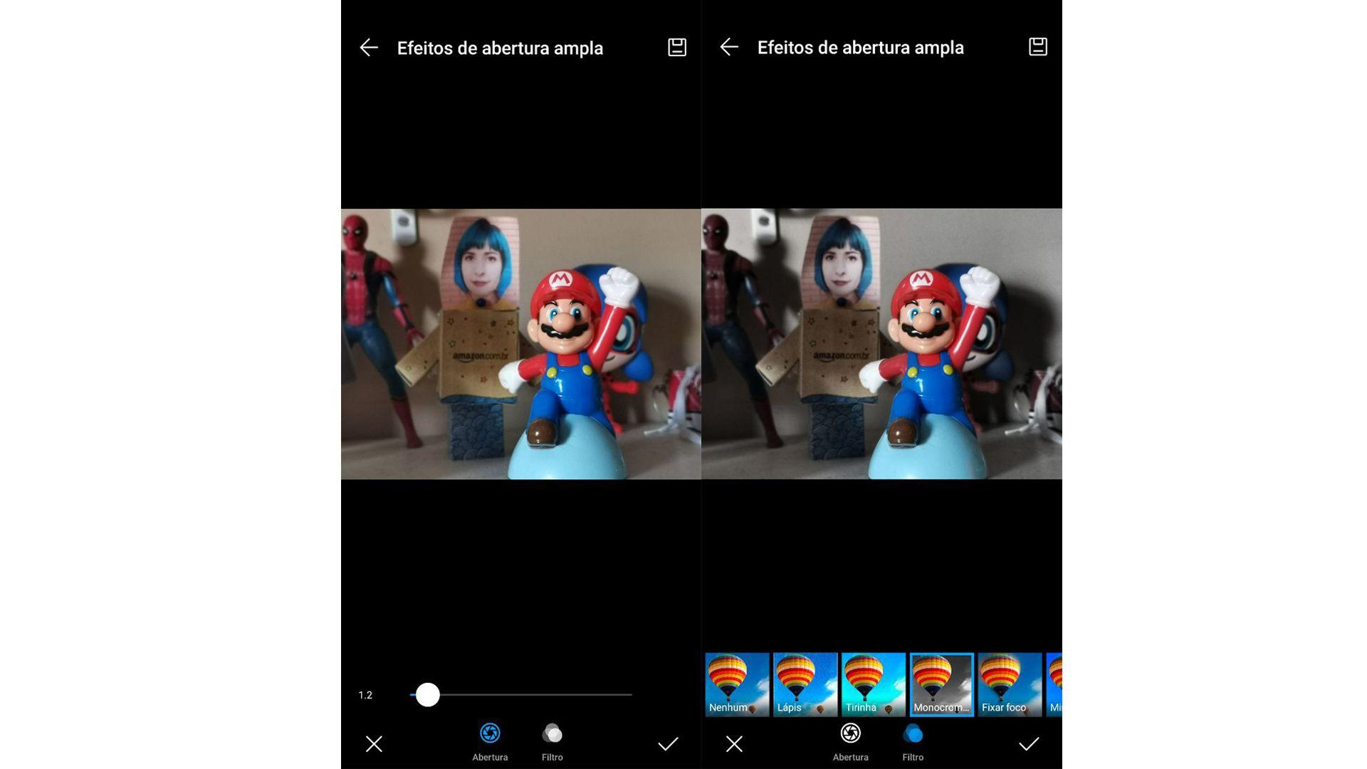 Modo Abertura permite desfocar e alterar cor de fundo das fotos. (Imagem: Ana Marques/Zoom)