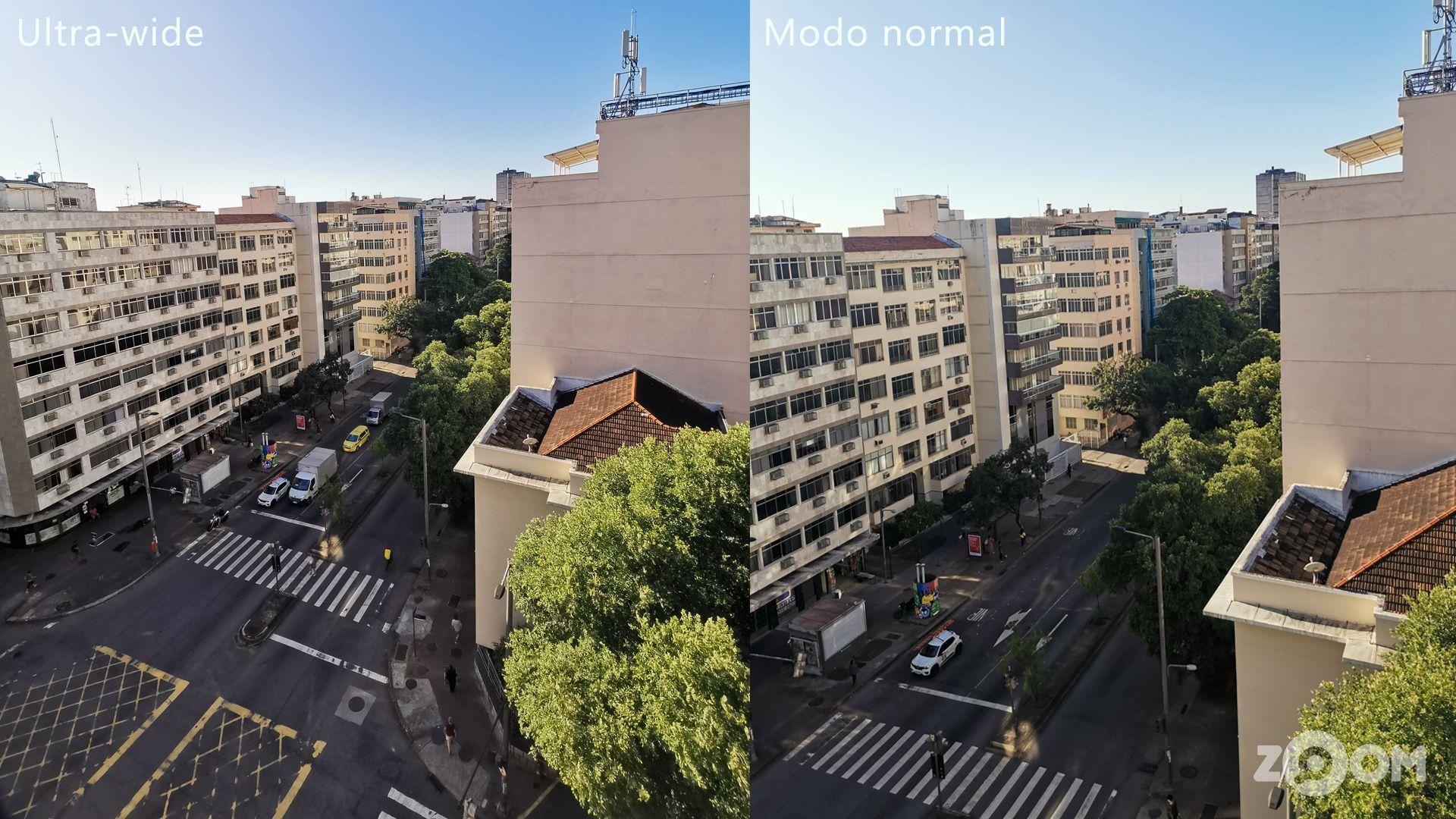 À esquerda, foto com lente ultra-wide, e à direita, foto com lente principal. Ambas as fotos foram tiradas exatamente do mesmo lugar. (Imagem: Divulgação/Ana Marques/Zoom)
