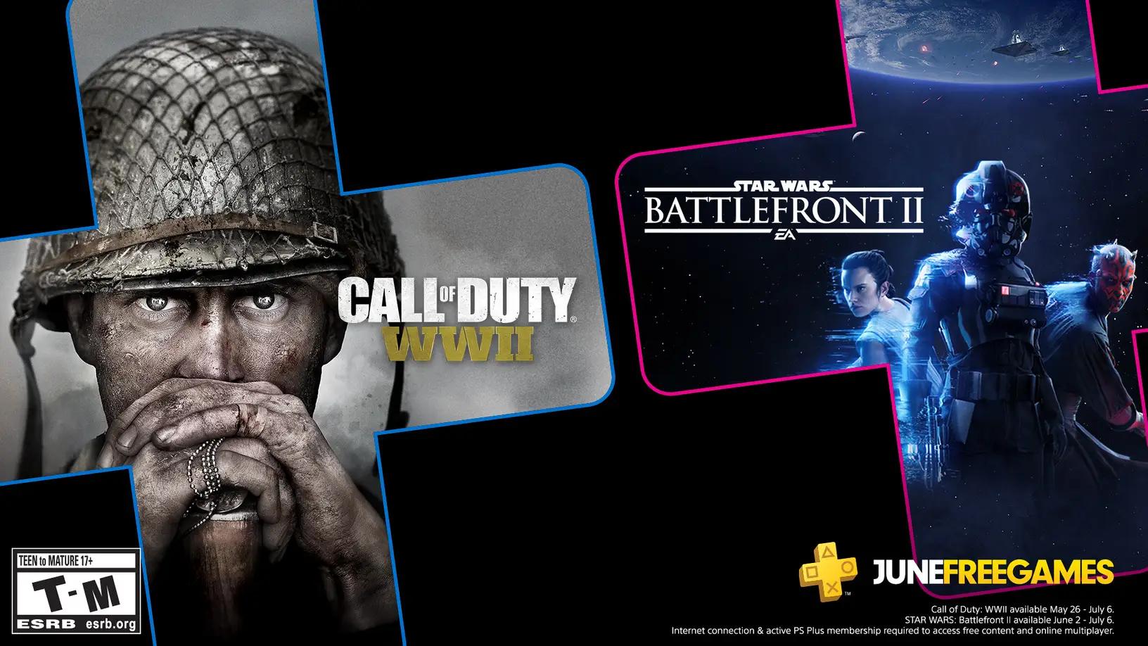 Call of Duty: WWII e Star Wars Battlefront 2 são os dois jogos grátis da PS Plus de Junho. (Foto: Reprodução/PlayStation Blog)