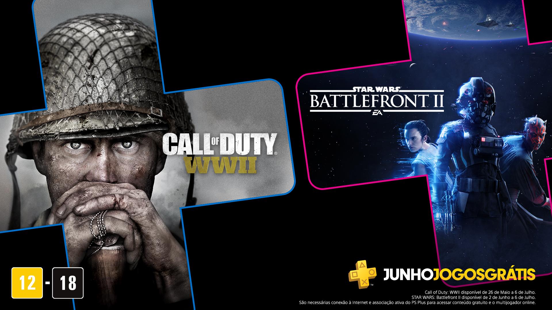 Em junho de 2020, os jogos grátis da PS Plus são Star Wars Battlefront 2 e Call of Duty: WWII. (Foto: Reprodução/Twitter/PlayStation BR)