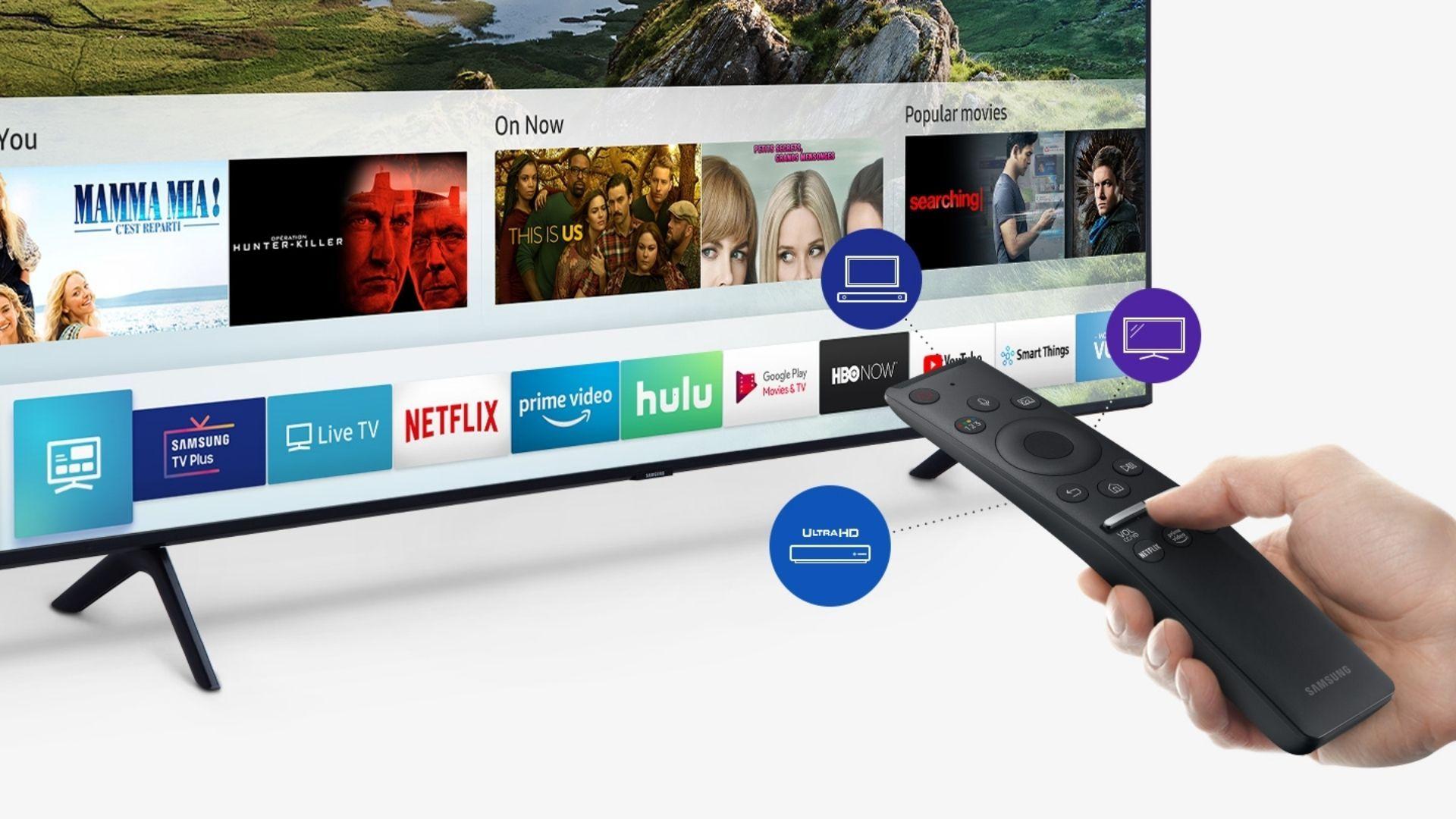 Smart TV Samsung Q60 vem com tecnologia QLED de tela e é capaz de controlar diversos aparelhos inteligentes através da Bixby, assistente pessoal da Samsung. (Imagem: Reprodução/Samsung)