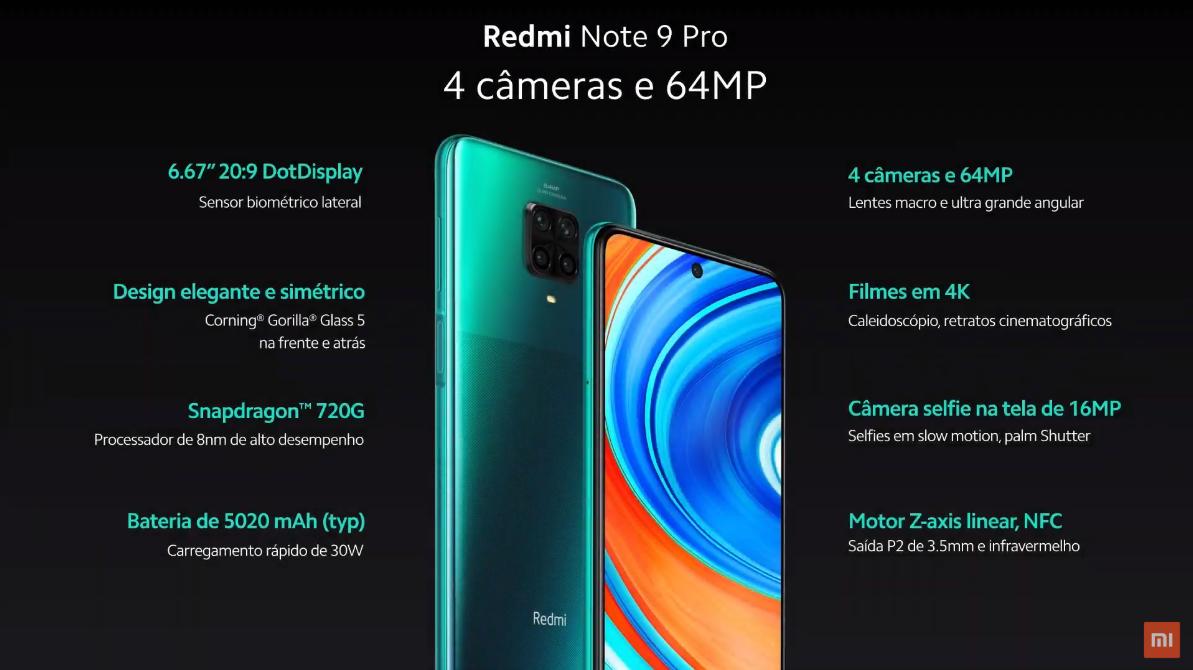Especificações do Redmi Note 9 Pro. (Imagem: Divulgação/Xiaomi)