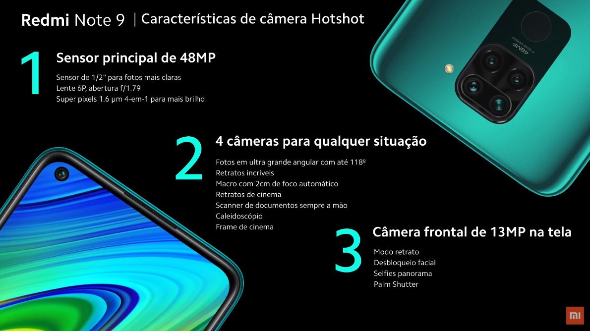 Especificações de câmera do Redmi Note 9. (Divulgação/Xiaomi)