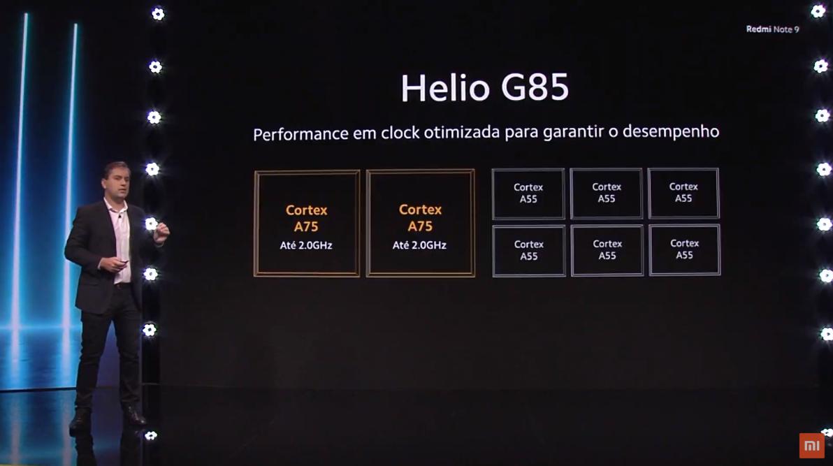 Processador do Redmi Note 9 é o Helio G85 da MediaTek. (Imagem: Divulgação/Xiaomi)