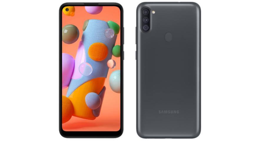 """Galaxy A11 tem câmera tripla traseira e """"furo"""" na tela para câmera frontal. (Imagem: Divulgação/Samsung)"""
