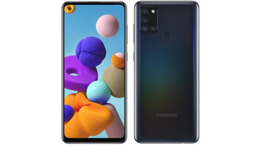 Galaxy A21s tem padrão holográfico na traseira e câmera quádrupla. (Imagem: Divulgação/Samsung)