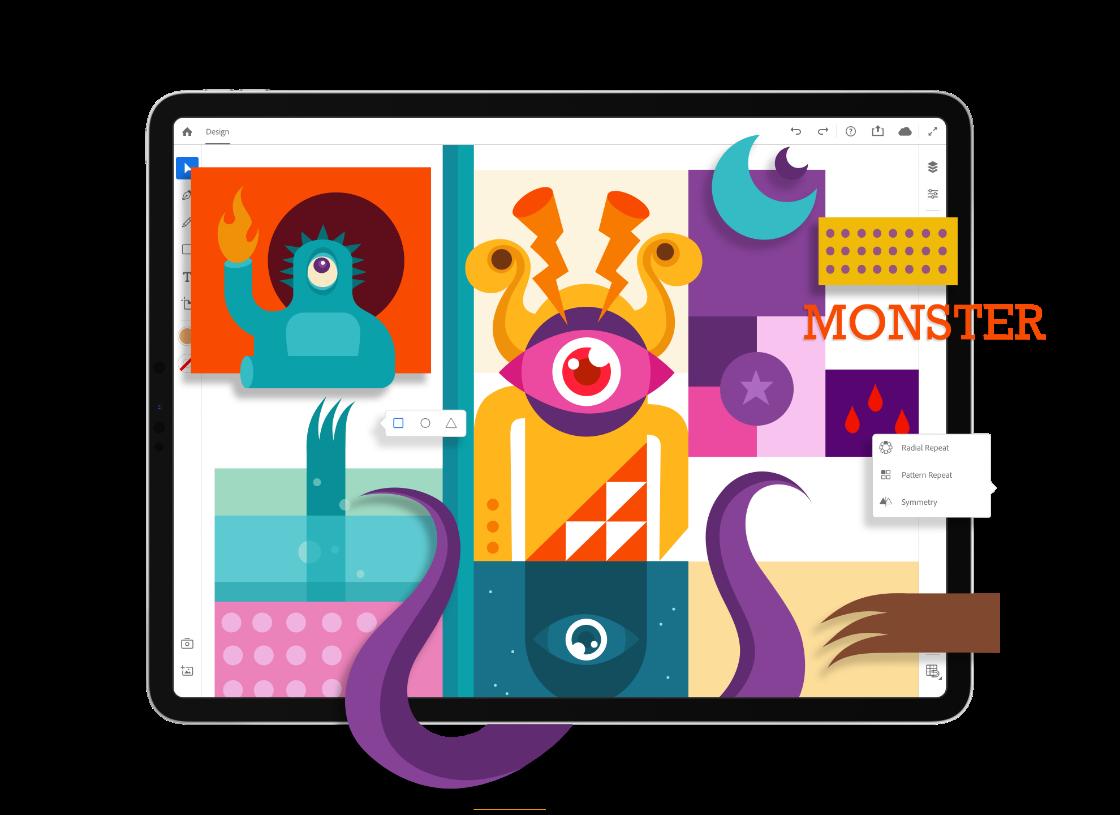 Ilustrator permite criar desenhos diretamente do celular ou tablet. (Imagem: Divulgação/Adobe)