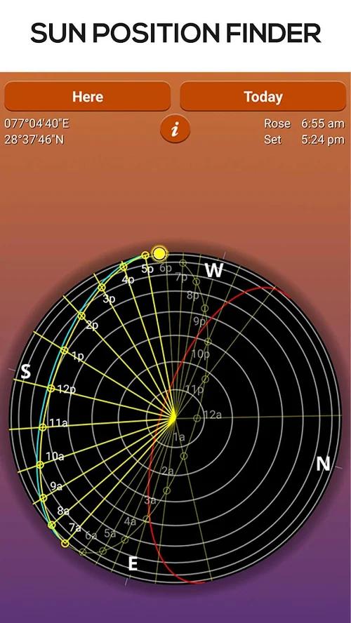 Sun Seeker permite identificar posição do sol em qualquer hora do dia. (Imagem: Divulgação/Sun Seeker)
