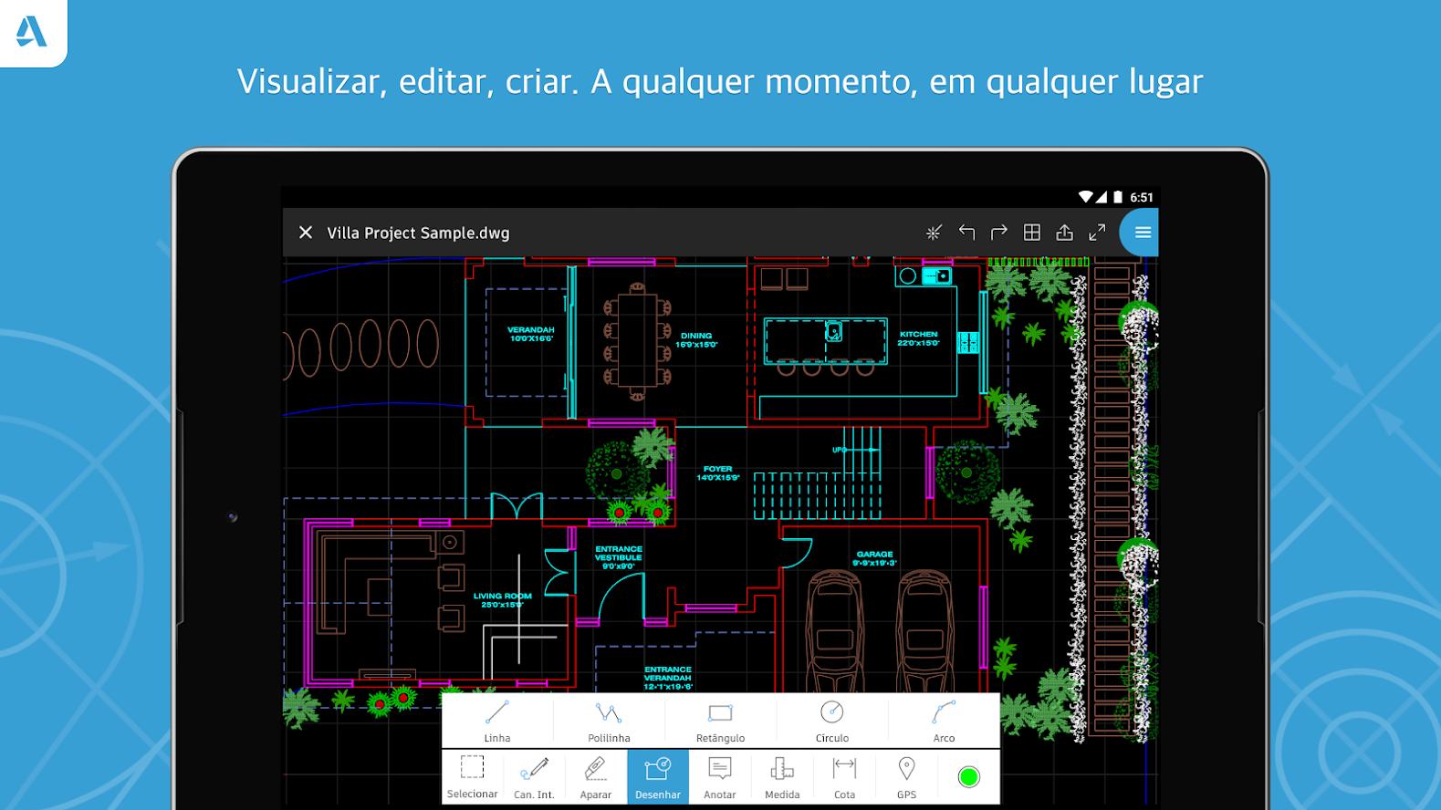 AutoCAD, famoso software para arquitetura, também está disponível para Android e iOS. (Imagem: Divulgalção/AutoCAD)