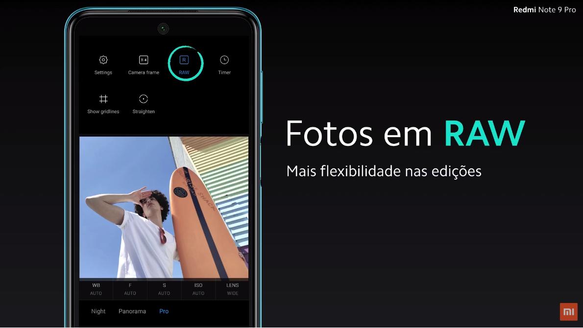 Redmi Note 9 Pro permite capturar fotos em RAW. (Imagem: Divulgação/Xiaomi)