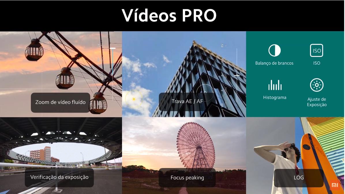 Modos profissionais de vídeo do Redmi Note 9 Pro. (Imagem: Divulgação/Xiaomi)