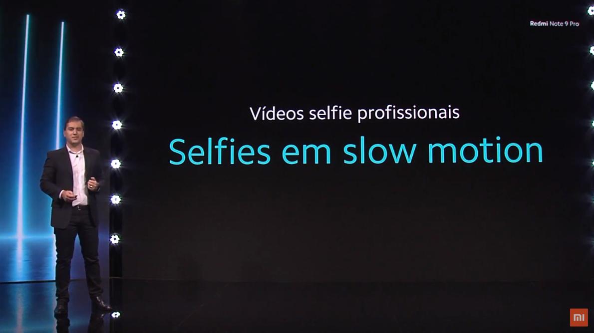 Redmi Note 9 Pro permite fazer selfies em câmera lenta. (Imagem: Divulgação/Xiaomi)