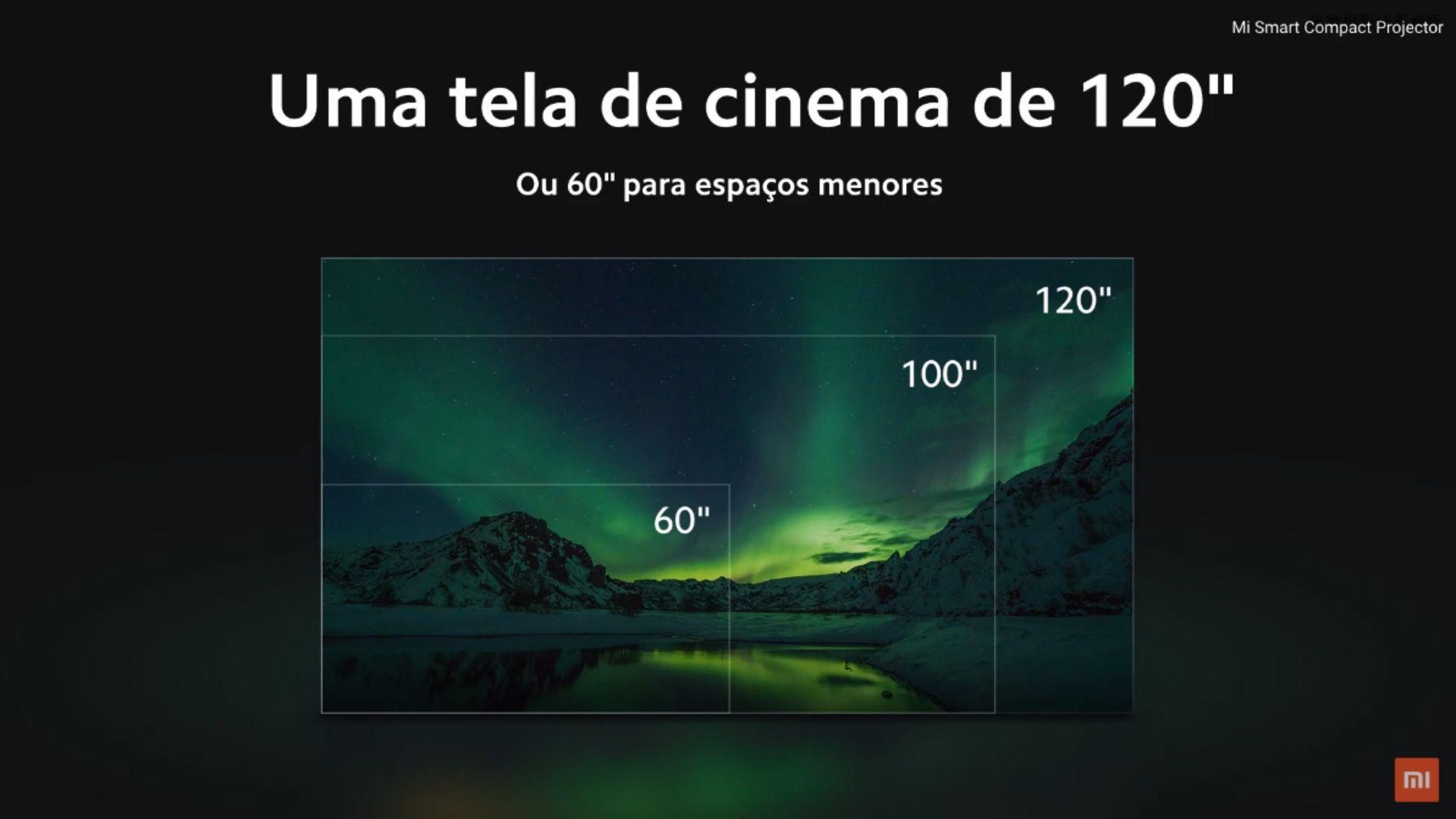Xiaomi Mi Smart Compact é capaz de projetar imagens de 60 a 120 polegadas. (Imagem: Divulgação/Xiaomi)