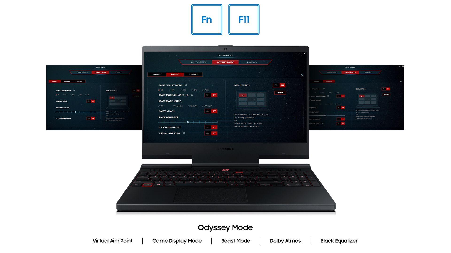 O Odyssey Control permite ativar filtros de tela, perfis de áudio e o modo Beast Mode, que promete aumentar a performance do notebook em até 15%. Foto: (Divulgação/Samsung)