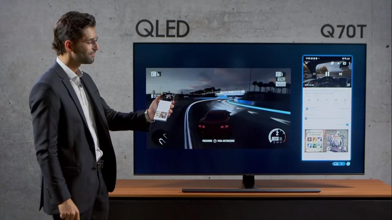 Q70T, modelo QLED 4K da marca, tem a função Multi-Tela. (Imagem: Reprodução/Samsung)