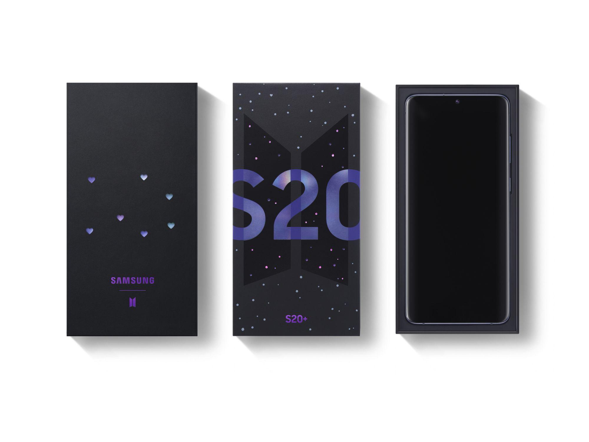 Caixa do Galaxy S20+ BTS Edition. (Imagem: Divulgação/Samsung)