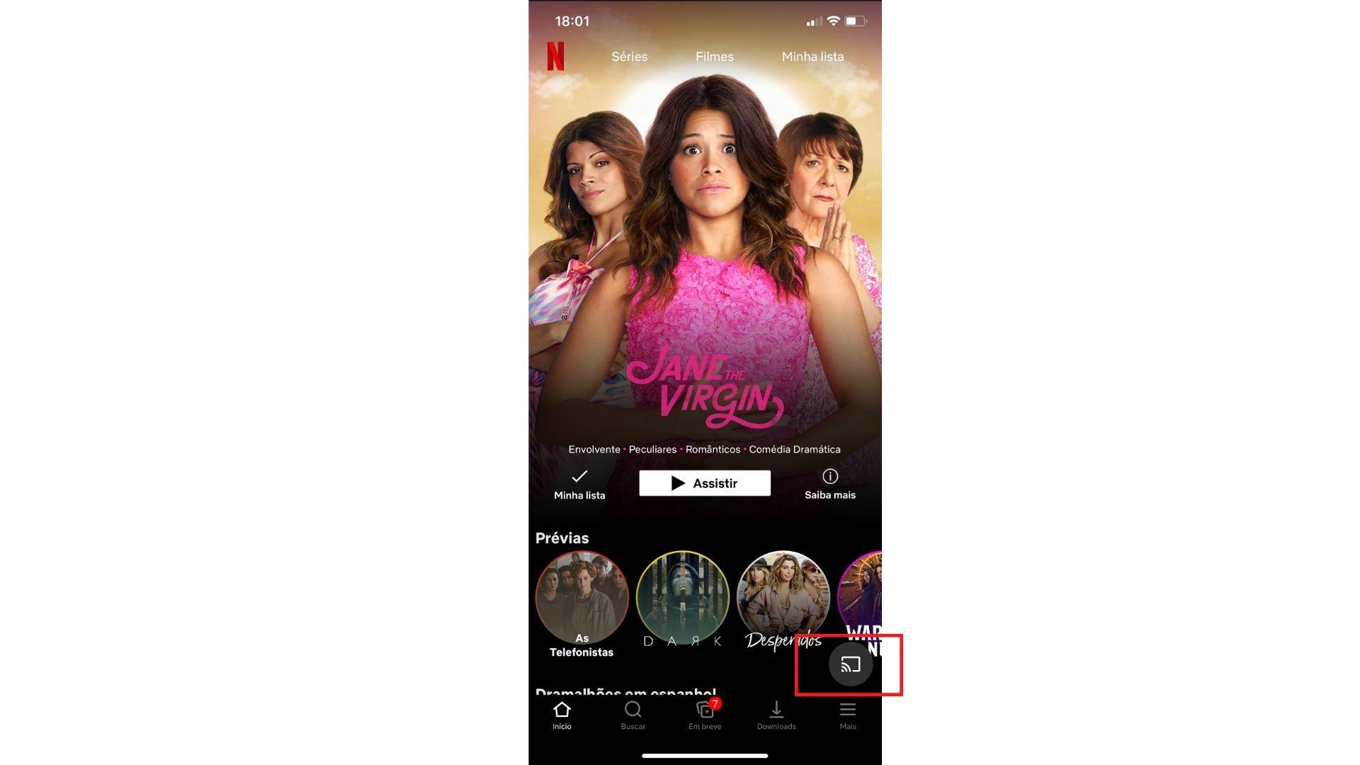 Ícone do espelhamento de tela via chromecast pode ser encontrado na maioria dos apps de streaming. (Imagem: Yulli Dias/Zoom)