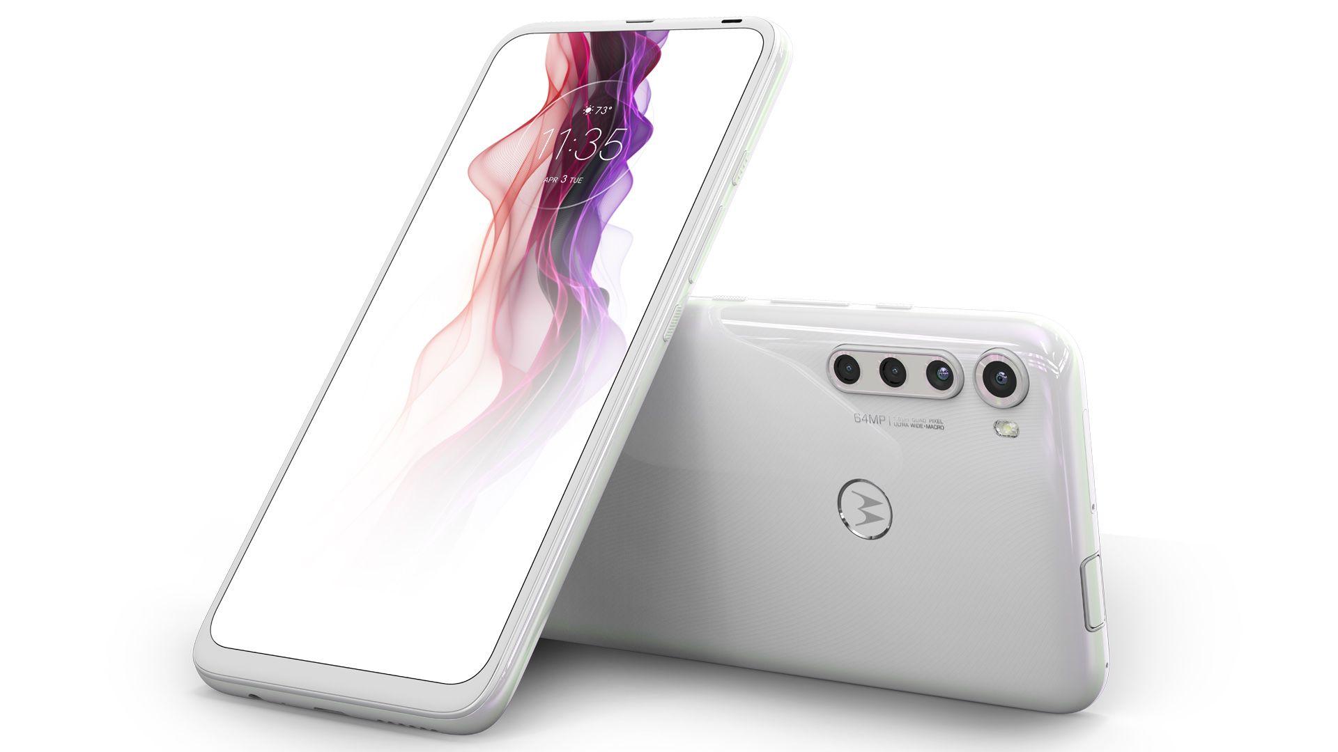 Motorola One Fusion Plus na cor branco prisma. (Imagem: Divulgação/Motorola)