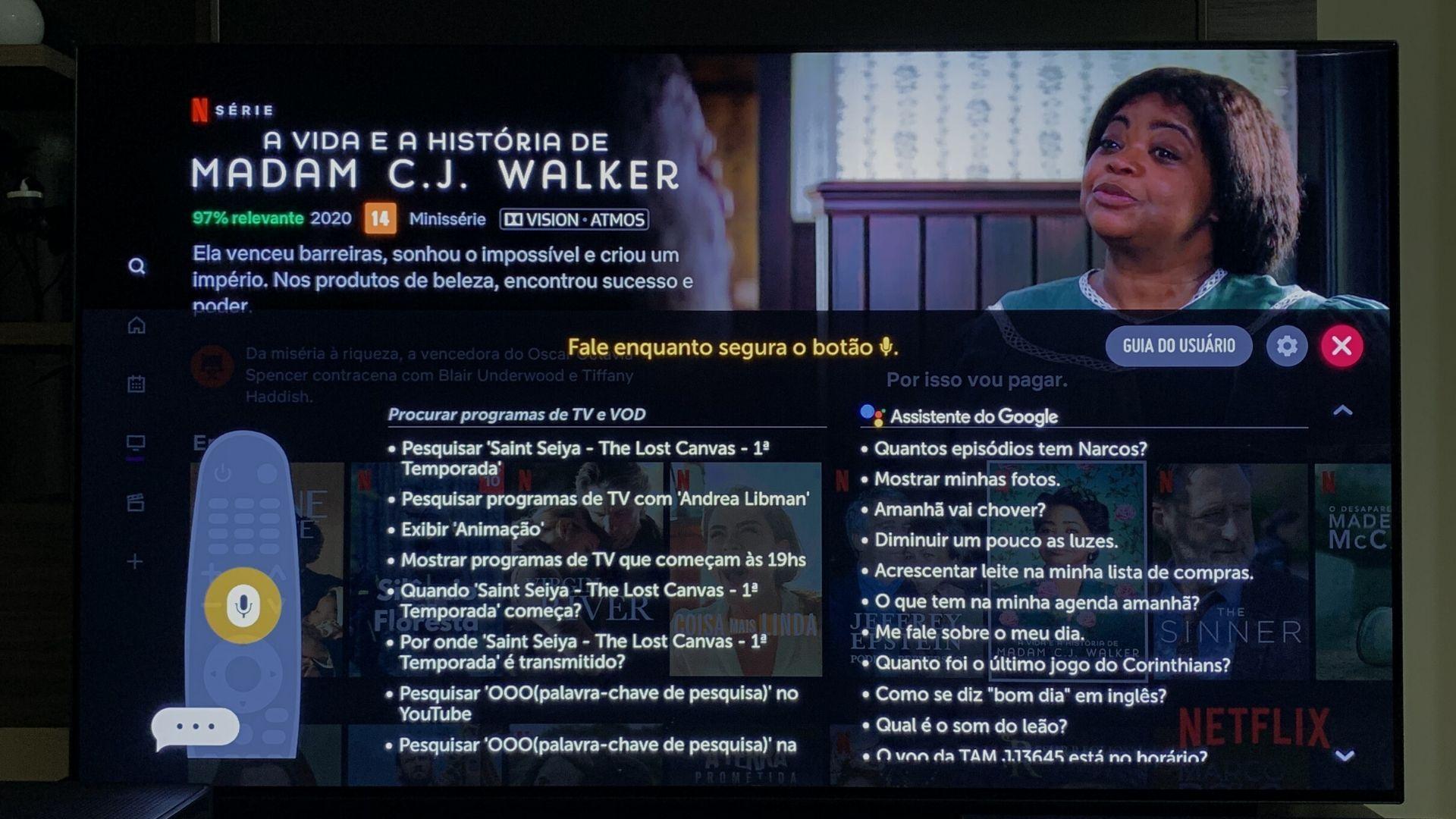 Tanto a B9 quanto a C9 têm o controle Smart Magic e suporte à Google Assistente e Alexa, que permitem comandar a TV através da voz. (Imagem: Yulli Dias/Zoom)