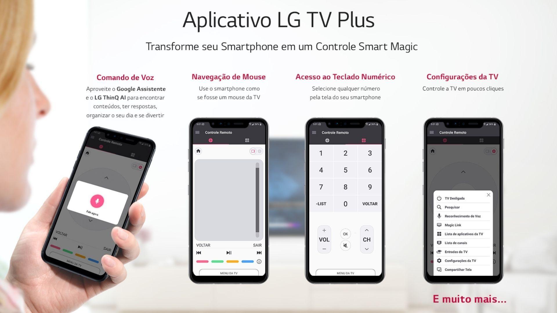 Aplicativo LG TV Plus faz com que seja possível comandar a TV LG através do smartphone. (Imagem: Divulgação/LG)