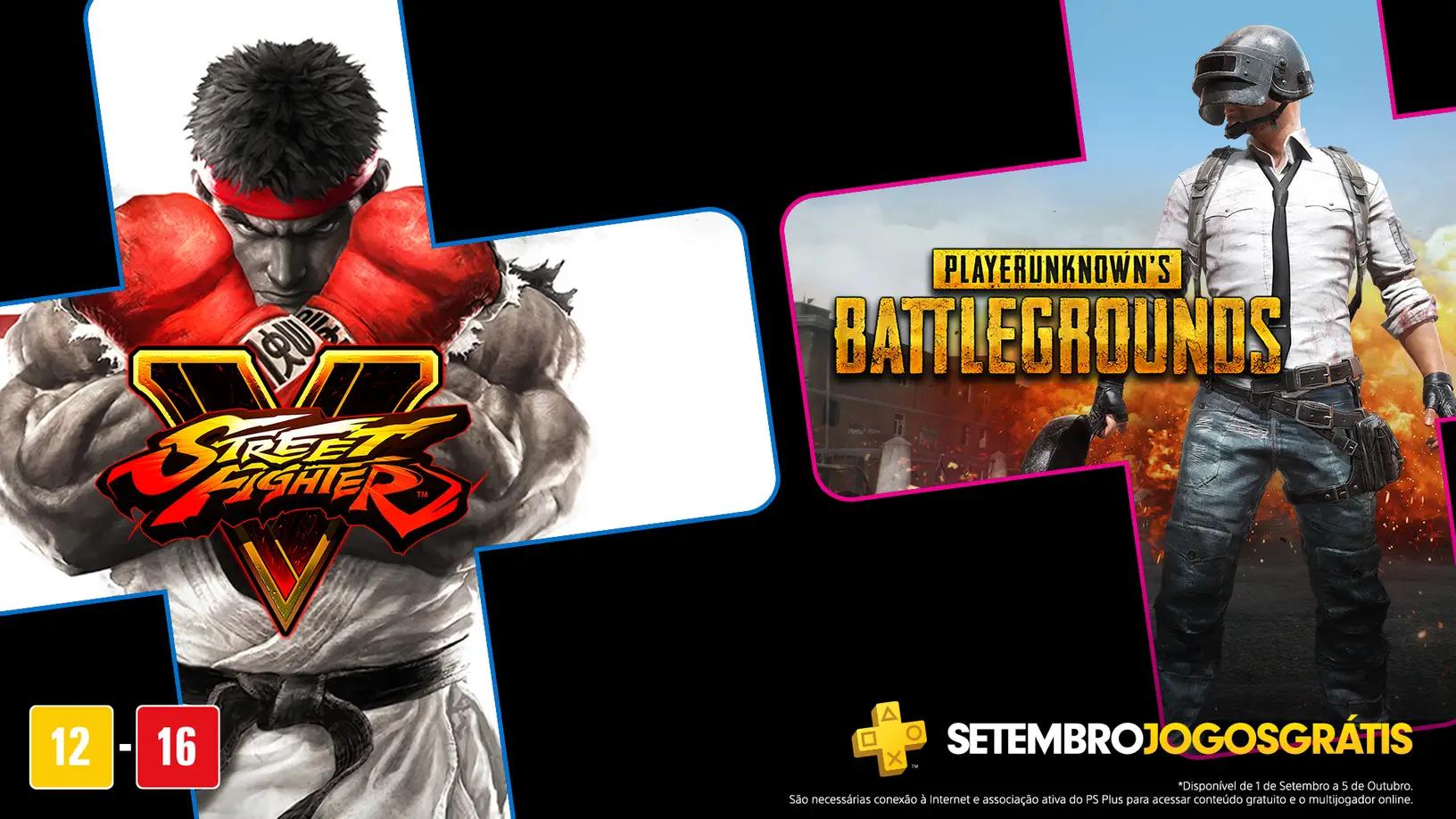 Street Fighter 5 e PUBG são os jogos grátis da PS Plus em setembro. (Foto: Reprodução/PlayStation Blog)