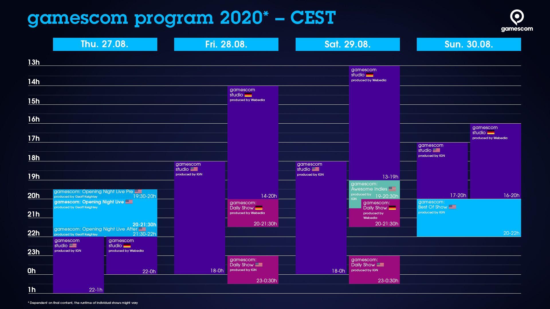 Calendário oficial da Gamescom 2020. (Foto: Divulgação/Gamescom)