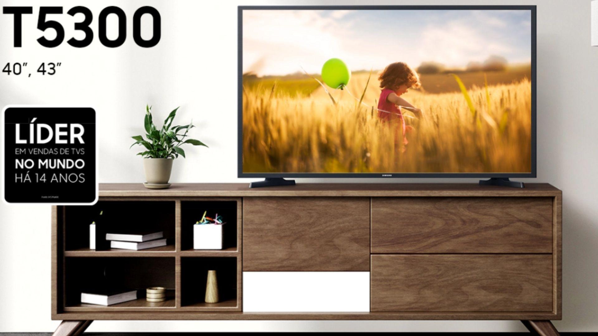 TV Samsung T5300 chega com tamanhos de 40 e 43 polegadas. (Imagem: Divulgação/Samsung)