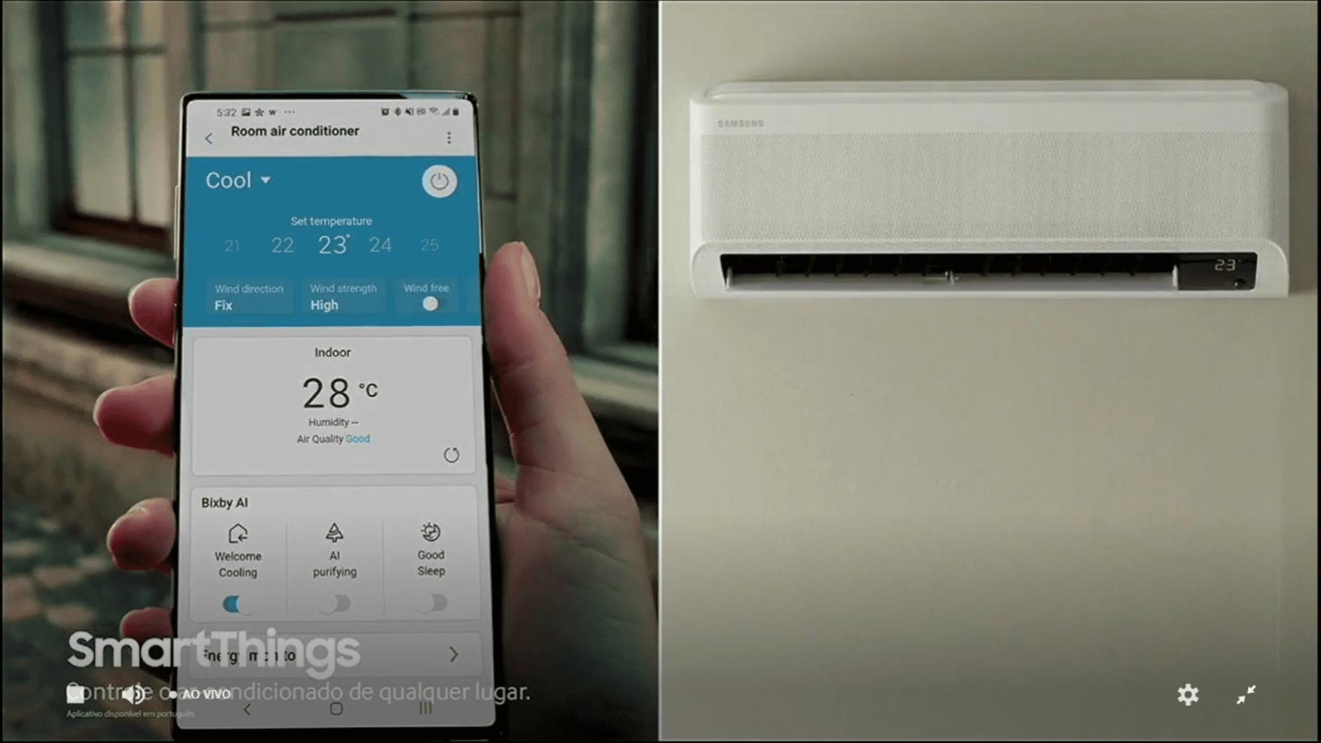 Com o app Smart Things é possível controlar o ar condicionado até mesmo à distância. (Imagem: Reprodução/Samsung)
