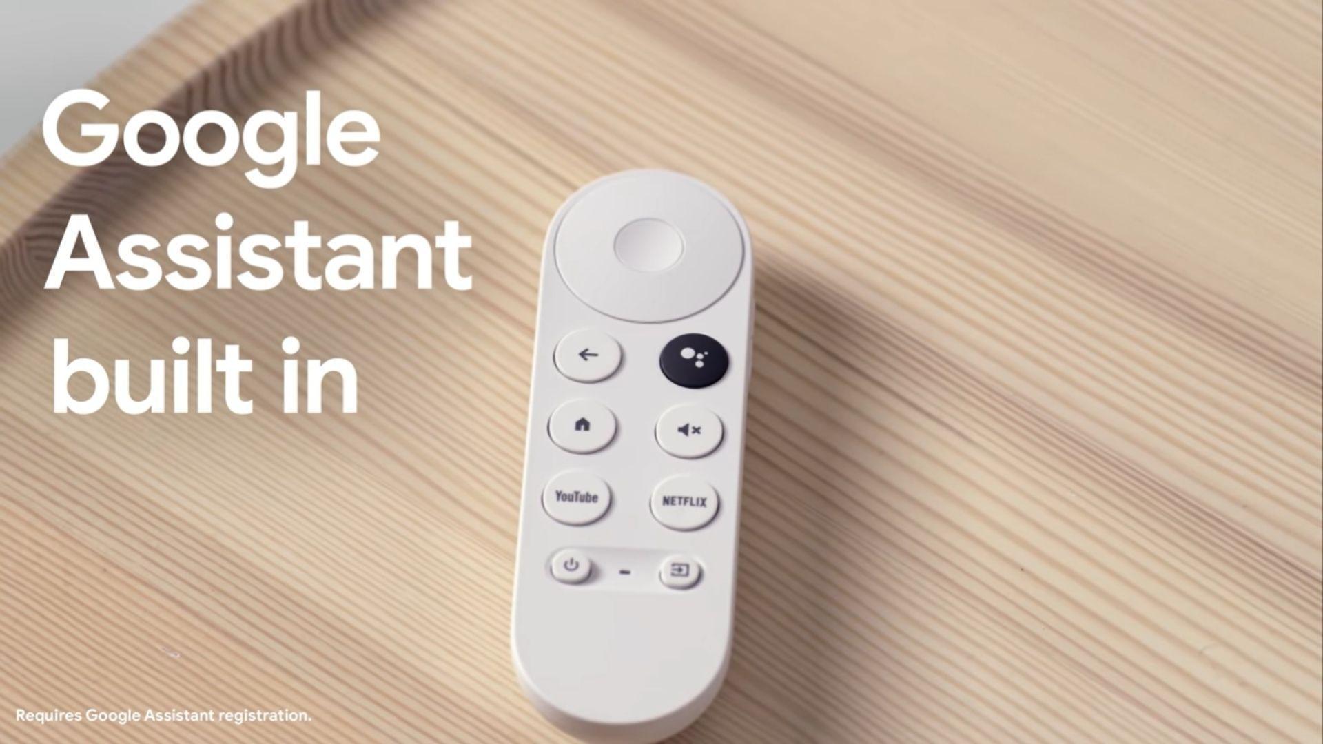 Uma das grandes novidades do Chromecast com Google TV é o controle remoto. (Imagem: Reprodução/Google)