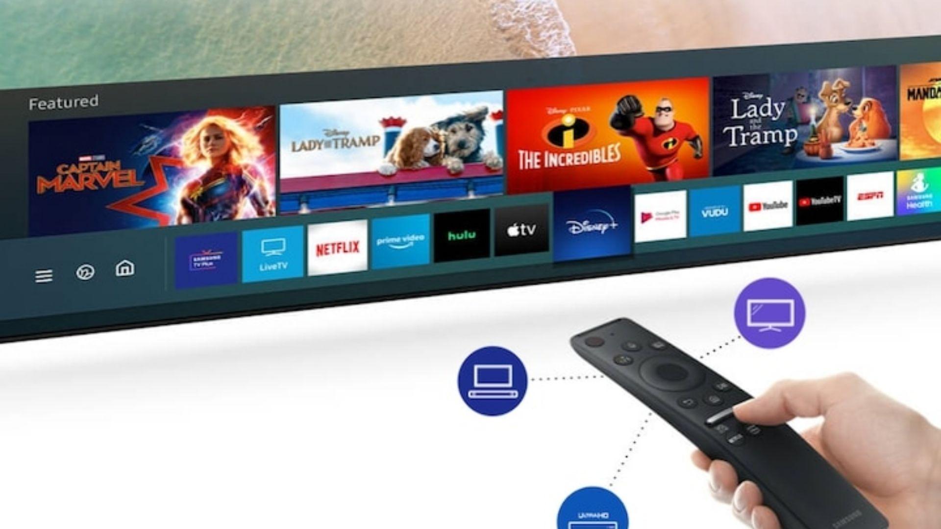 Controle remoto único da Samsung consegue comandar todos os aparelhos conectados as portas HDMI. (Imagem: Divulgação/Samsung)