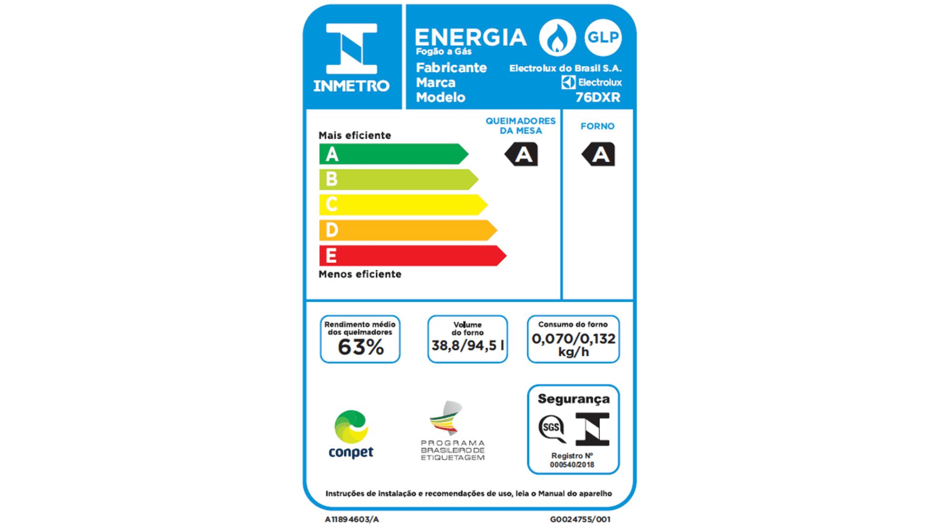 Por sua boa eficiência energética, esse aparelho tem classificação A no selo Compet (Imagem: Divugação/Electrolux)