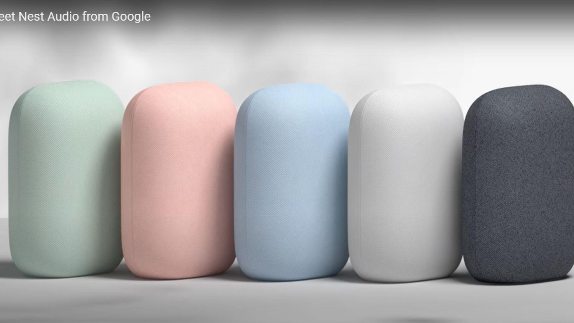 Google Nest Audio chega em 5 cores: verde, rosa, azul, cinza escuro e preto. (Imagem: Reprodução/Google)
