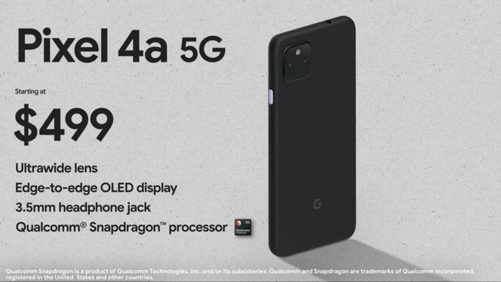 Pixel 4a 5G tem tela OLED e será lançado por US$ 499 (Foto: Divulgação/Google)
