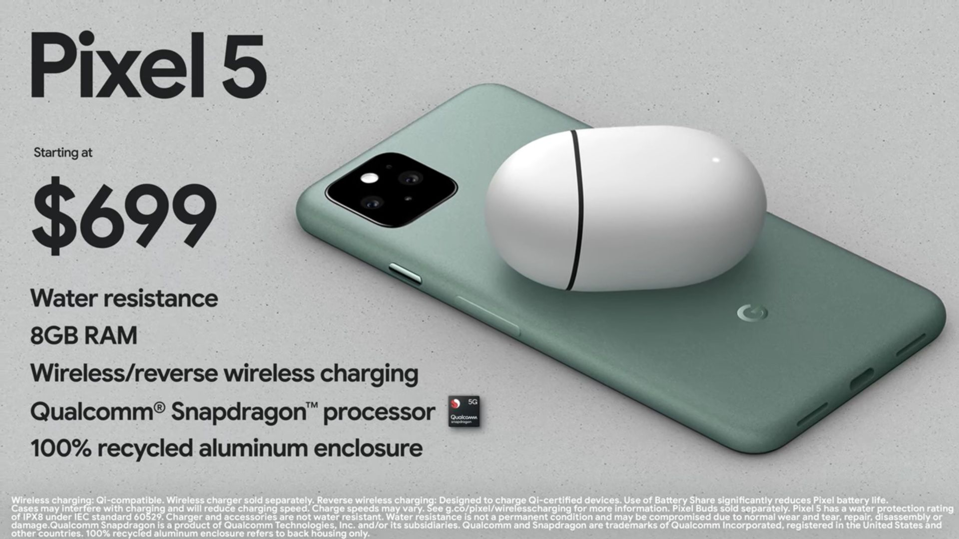 Pixel 5 tem preço a partir de US$ 699 e terá carregamento wireless e reverso (Foto: Divulgação/Google)