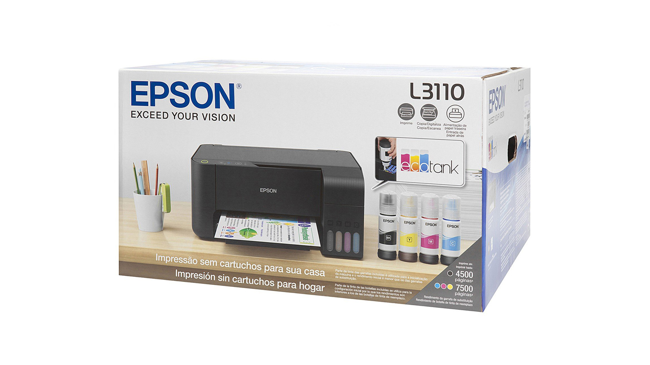 Impressora Ecotank L3110 é uma multifuncional que permite escanear, imprimir e copiar documentos. (Foto: Divulgação/Epson)