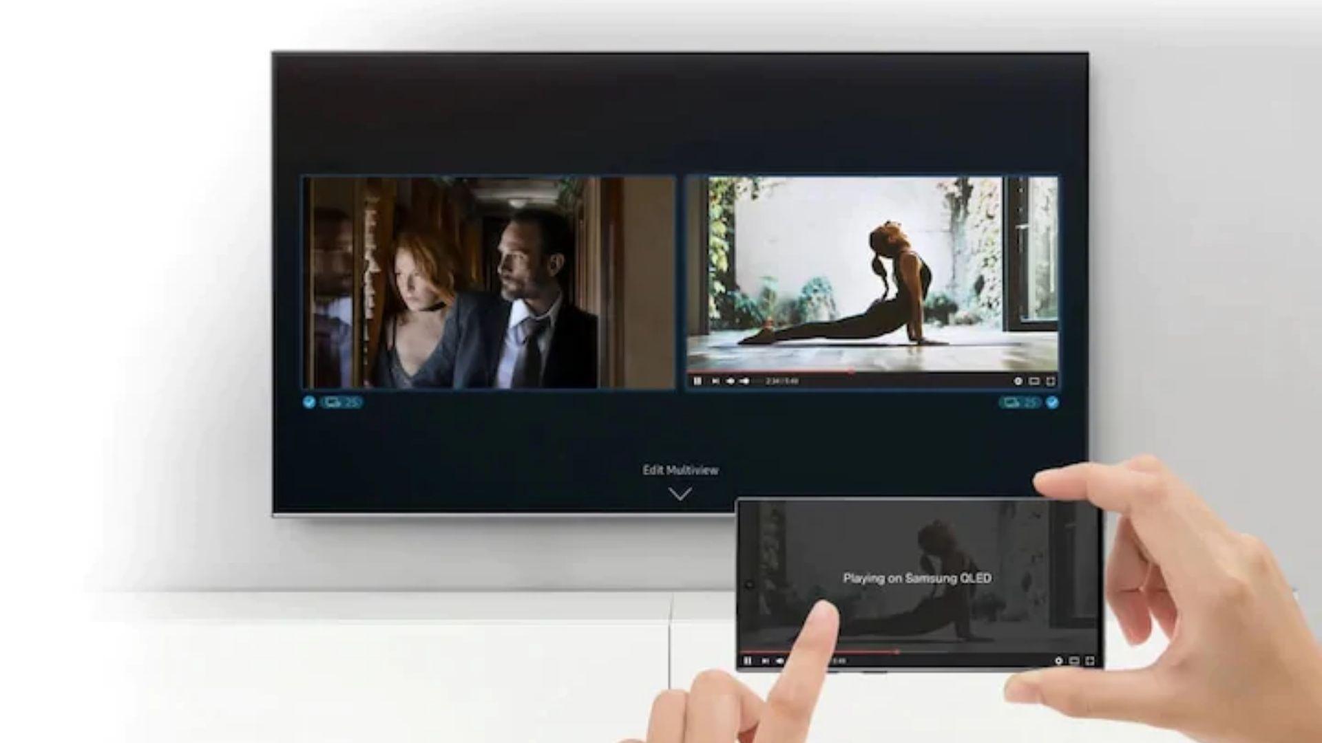 Multi Tela é a novo recurso de espelhamento de tela implementado pela Samsung nas TVs QLED. (Imagem: Reprodução/Samsung)