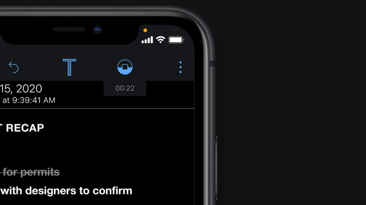Bolinha laranja aparece no iPhone quando microfone está ativo (Foto: Divulgação/Apple)